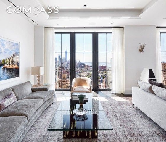 full floor penthouse with 360degree views of new york city beautifully designed art deco style living space private terraces and high end features