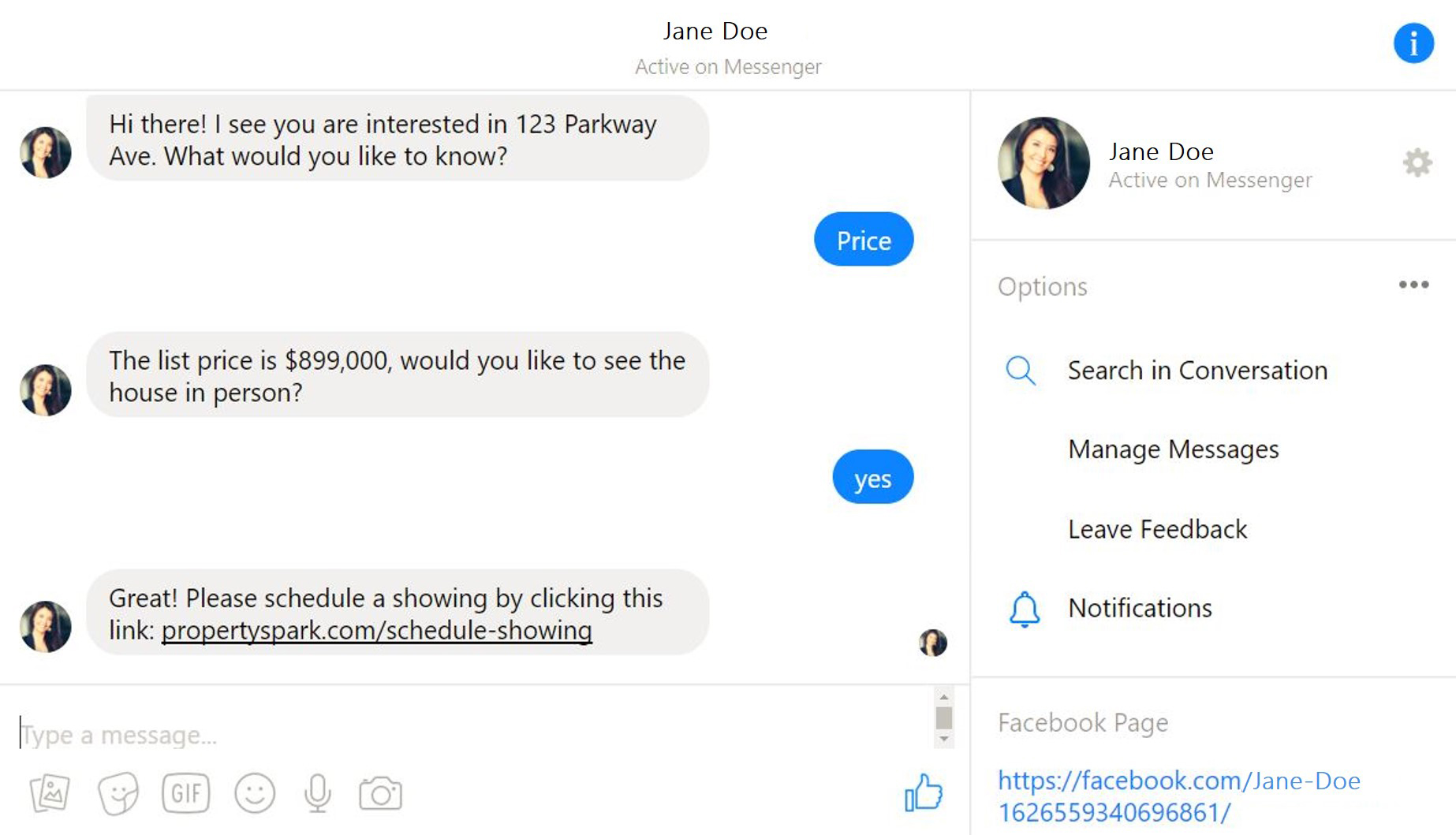 Chatbot Screenshot - Jane Doe